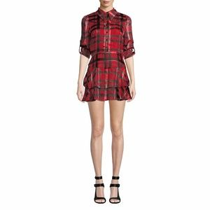 Alice + Olivia Hazeline Red Silk Mini Dress Size 6